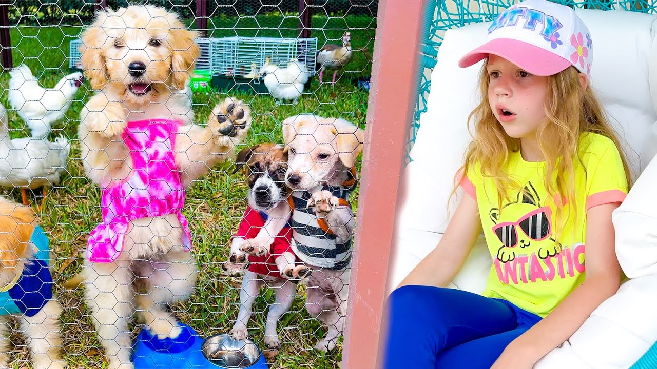 Nastya and the story with animals on grandfather's farm