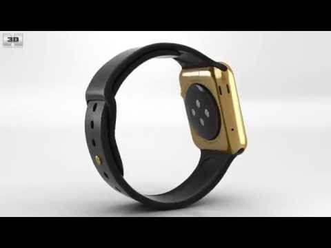apple-watch-edition-42mm-yellow-gold-case-black-sport-band-by-3d-model-store-humster3d.com
