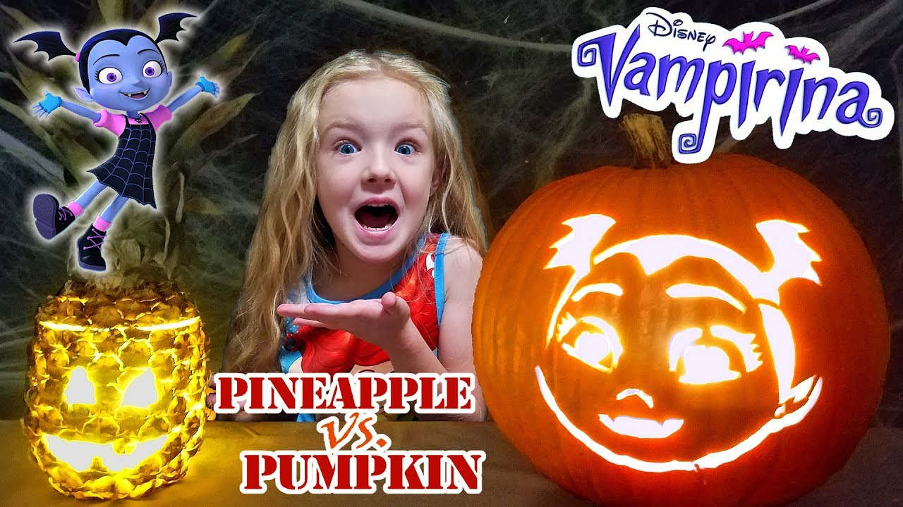 Vampirina pumpkin carving vs halloween pineapple?!?! disney junior