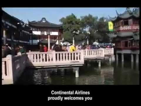 PVG Continental Airlines 777-200ER Pre-Arrival Video Shanghai Chinese English Boeing United