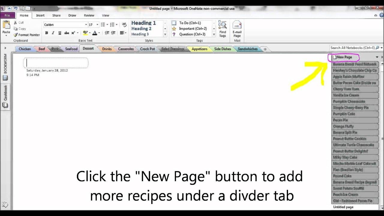 create a cookbook using microsoft onenote youtube