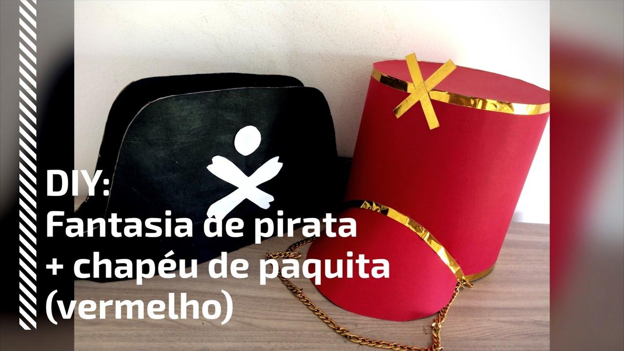 DIY  FANTASIA de PIRATA + CHAPÉU de PAQUITA (VERMELHO) - YouTube eefe87b4505