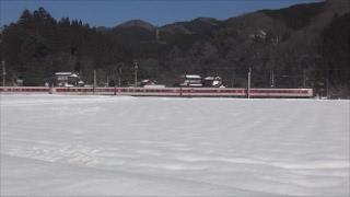 奥日野雪景色と伯備線(2017年2月4日)