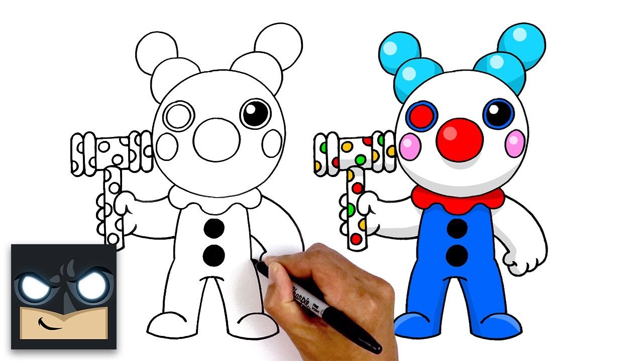 Roblox Drawing Piggy Images Roblox How To Draw Roblox Clown Step By Step Youtube