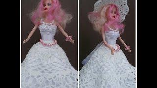 Как связать свадебное платье для куклы! How to tie a dress for a doll!