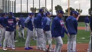 Cubs players sprinting around bases in a drill - Chicago Cubs 2019 Spring Training