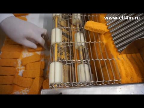 """Котлетный автомат + аппарат панировки для производства котлет. Форма """"Рыбные палочки""""."""