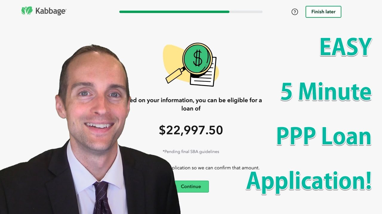 5 Minute Ppp Loan Application For 22 997 At 1 With Kabbage Sba Paycheck Protection Program Youtube