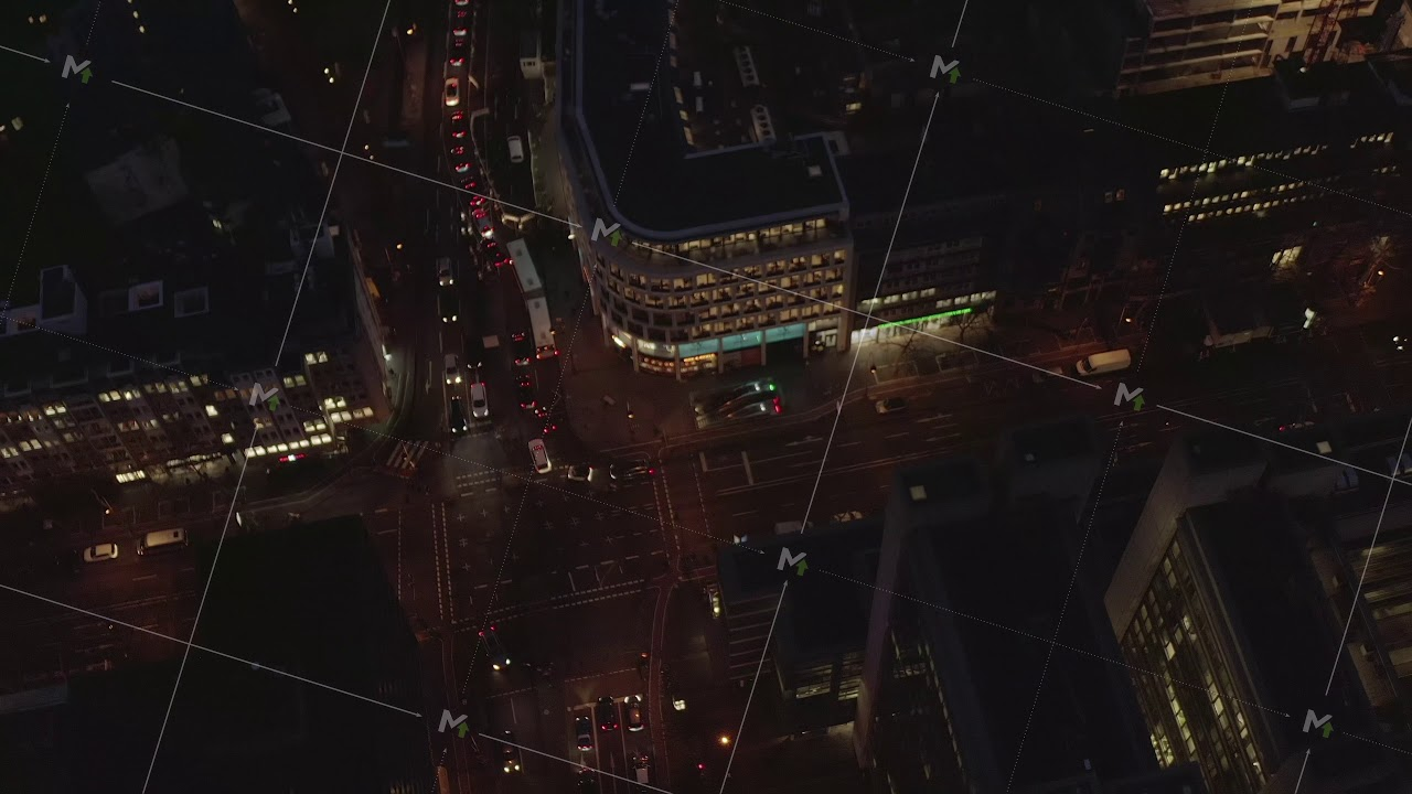 AERIAL: Beautiful Overhead Shot of busy intersection at ...