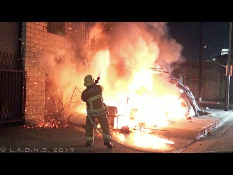 LAFD / L.A. Skid Row Tents Fire with Extension