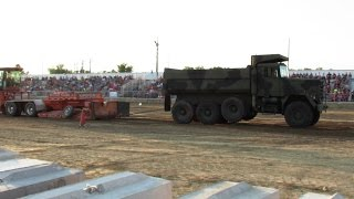 Old Dump Truck Pull At Eastern Michigan State Fair 2014