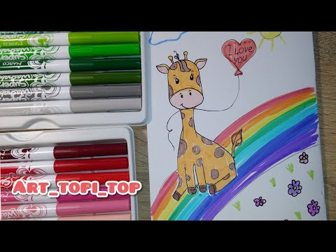 How draw Cute Giraffe easy #art_topi_top #drawing #draw #easydraw