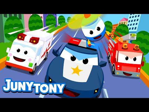 Vehicle Rescue Team Song for Kids | Police car,  Fire truck, Ambulance and Helicopter! | Juny&Tony