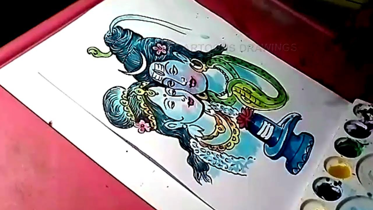 How to draw lord shiva and parvati color drawing for kids