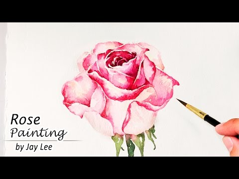 How to Paint a Rose in Watercolor   Painting Flowers Tutorial