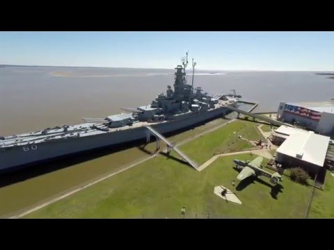 USS Alabama Battleship Memorial park (aerial view) | Mobile, AL