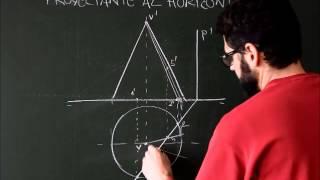Sistema diédrico, superficies radiadas, sección de cono con plano proyectante al plano horizontal