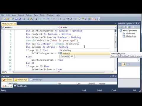 Visual Basic Tutorial   16   Conditional Operators   YouTube