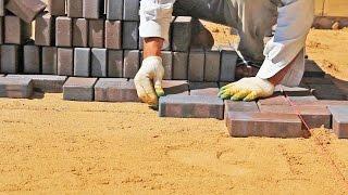 Укладка брусчатки | Процесс(Укладка клинкерной брусчатки по готовому бетонному основанию на песок. Укладка брусчатки по немецкой..., 2016-04-06T14:12:00.000Z)