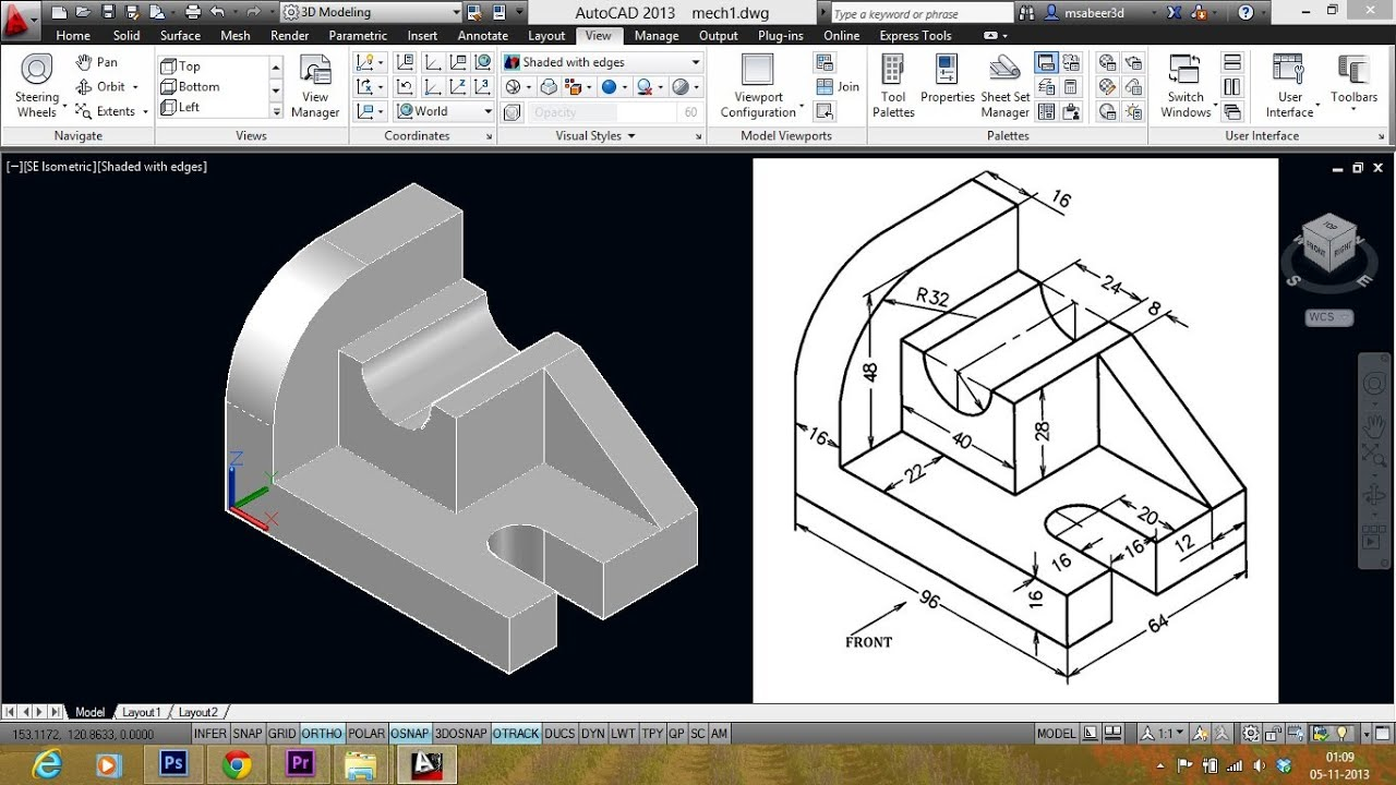 AUTOCAD MECHANICAL MODELING PART1 - MAKING A 3D MODEL - YouTube