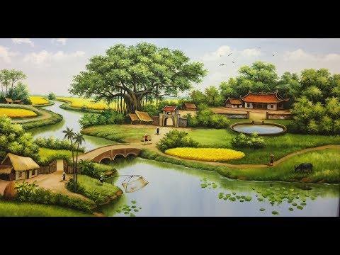 dậy cách vẽ tranh đồng quê có gam màu xanh ấm áp tranh sơn dầu/ acrylic