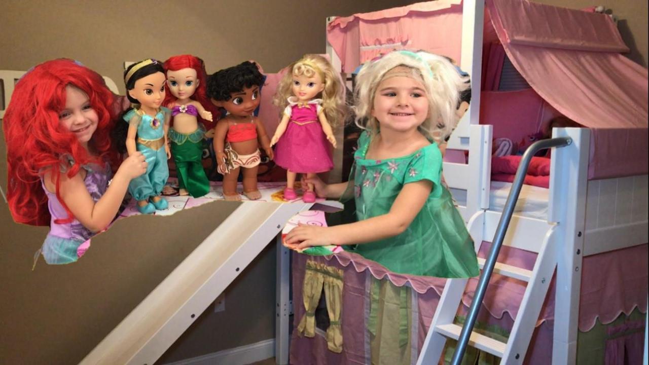 Disney Princess Toddler Dolls Bed Slide Moana Ariel Aurora