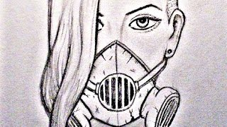 Drawing GAS MASK GIRL - Graphite Portrait