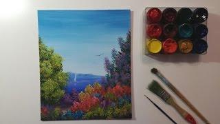 Рисуем гуашью морской пейзаж (Запись выступления в