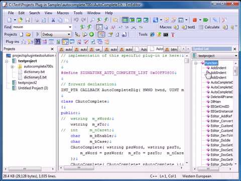 EmEditor Text Editor Projects Plug-in Extended Tutorial Feature