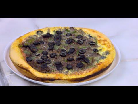 بيتزا مع صوص الجبنة الشيدر | نجلاء الشرشابي