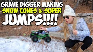 Grave Digger Making Snow Cones & SUPER JUMPS!!!!