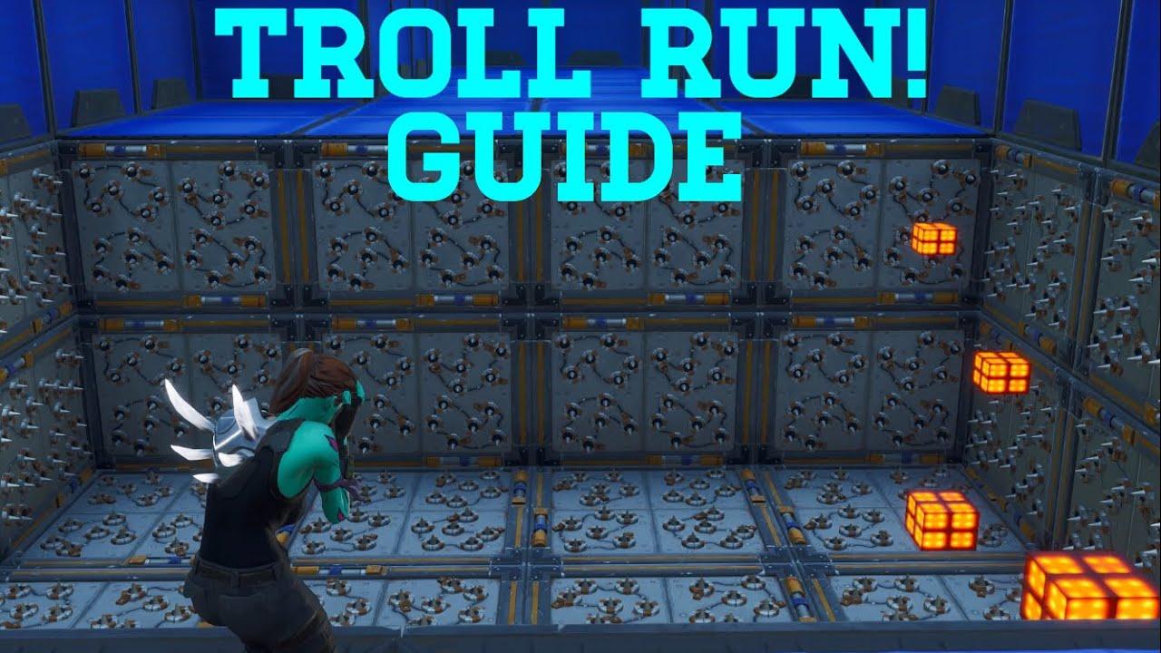 how to complete troll run by frank8256 all levels 1 16 fortnite creative guide - troll run 20 fortnite code