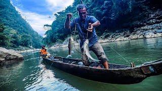 Nelayan pedalaman Aceh sangat tangguh di sungai besar   tangkap ikan dengan umpan buah sawit, part 2