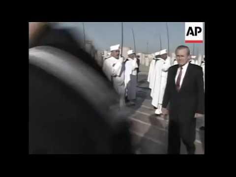 SecDef Rumsfeld in Morocco, 2005. ©AP