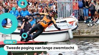 Gestart! Maarten van der Weijden zwemt opnieuw Elfstedentocht