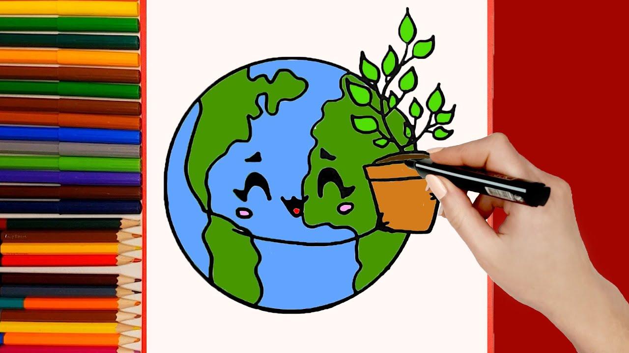 COMO DIBUJAR AL PLANETA TIERRA KAWAII.  dibujos kawaii faciles.  Aprende a dibujar planetas kawaii