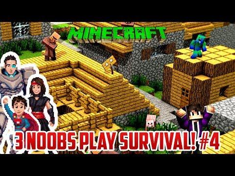 3 NOOBS FIND A VILLAGE! (Survival Minecraft Part 4)