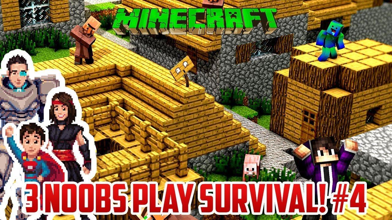 3 Noobs Find A Village Survival Minecraft Part 4 Youtube