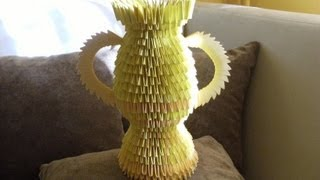3d Origami - Golden Trophy - Vase - How To Make Instruction