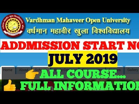 vmou kota july 2019 addmission full process/open university addmission last date