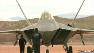 2012 Thunder over Utah Airshow - F-22 Raptor startup, preflight checks