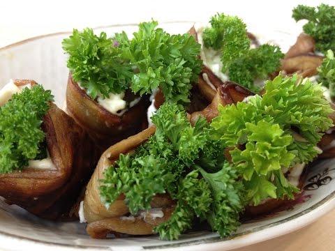 Баклажаны (синенькие) Рулетики из баклажанов с сырной начинкой, Вкусный и простой рецепт