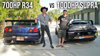 R34 GTR vs.1000HP Supra!