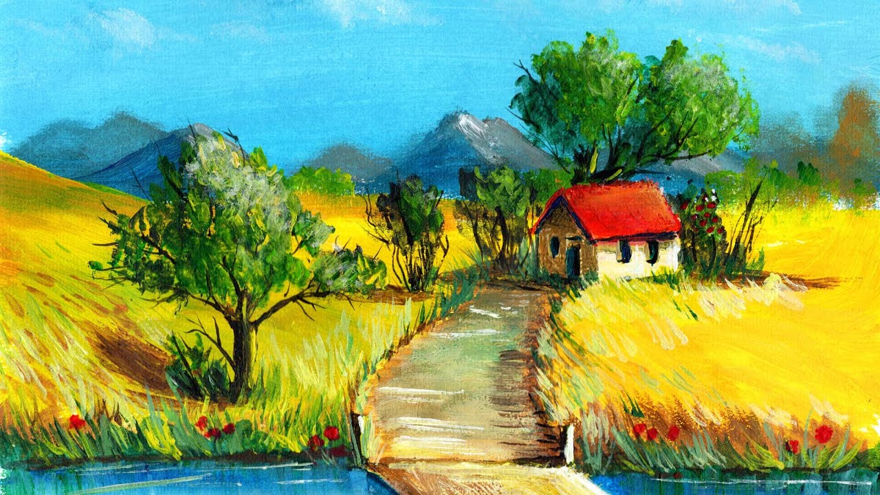 Peisaj de VARA in acrilice - How to paint landscape in acrylics - YouTube