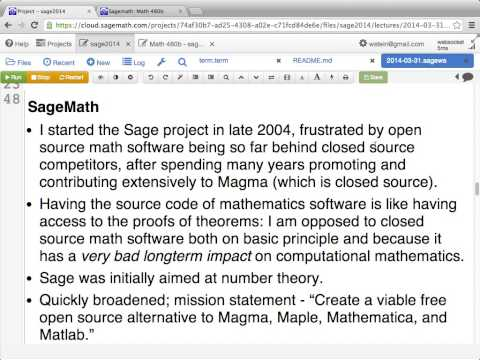 2014-03-31 - SageMath class at Univ of Washington -- lecture 1