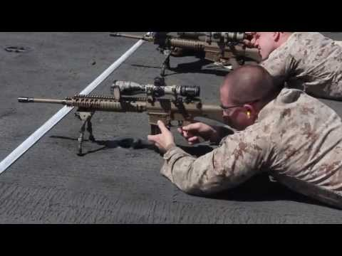 Scout Sniper Platoon Conducts Target Practice While At Sea Aboard USS Kearsarge