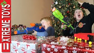 Christmas Showdown Part 1! Nerf Blaster Sneak Attack Squad Holiday Battle! thumbnail
