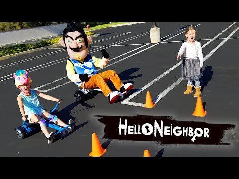 Hello Neighbor in Real Life! Game Master Challenge Hoverboard Races!!