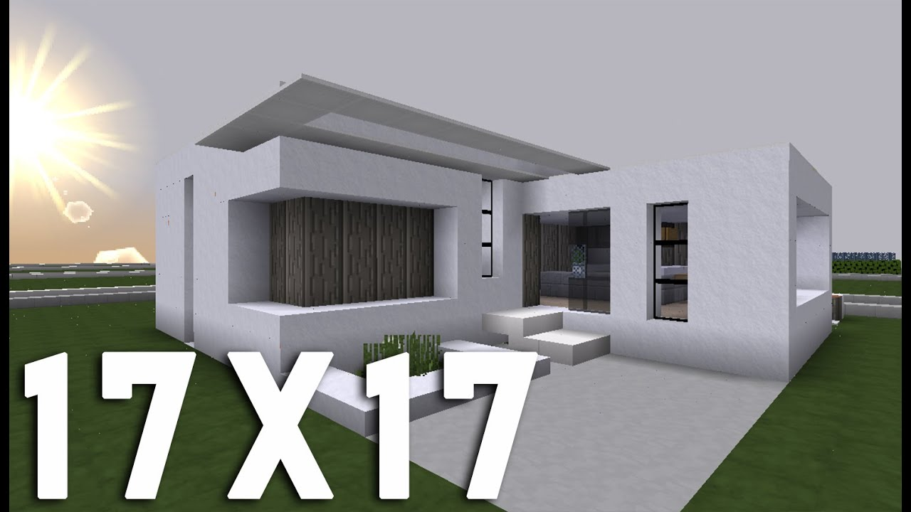Minecraft tuto construction maison moderne en 17x17 for Modele maison minecraft
