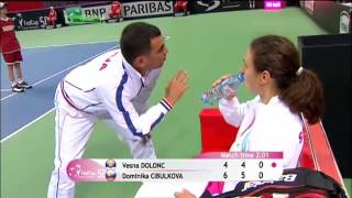Vesna Dolonc vs Dominika Cibulkova (muscle cramps)